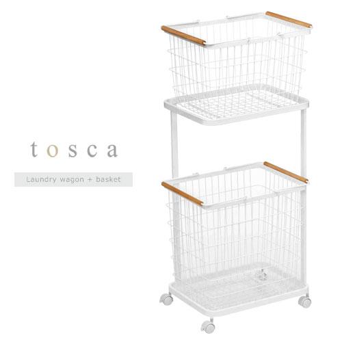 トスカ ワイヤーバスケット ランドリー 縦型 2段 洗濯カゴ ラック キャスター 天然木 ホワイト SNE900029