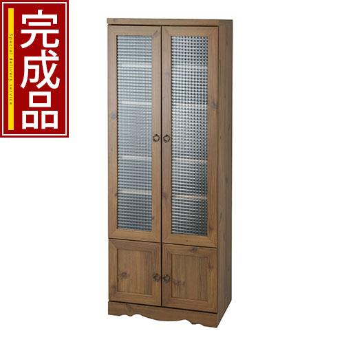 おしゃれ クロスガラス キッチン家具 食器棚 キャビネット ディスプレイラック 木製ラック 木目調 収納ラック 木製収納 収納家具 アンティーク 送料無料 完成品 Dタイプ