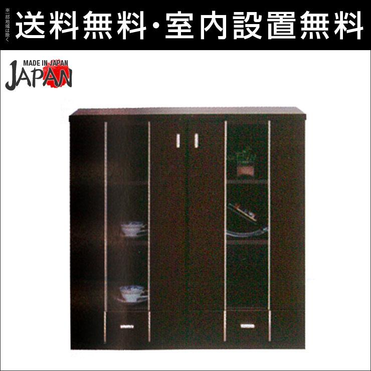 【送料無料/設置無料】 完成品 日本製 ホーク サイドボード 幅90cm ブラウン木製 ミドルボード フリーボード ラック シェルフ 書庫 ブックシェルフ