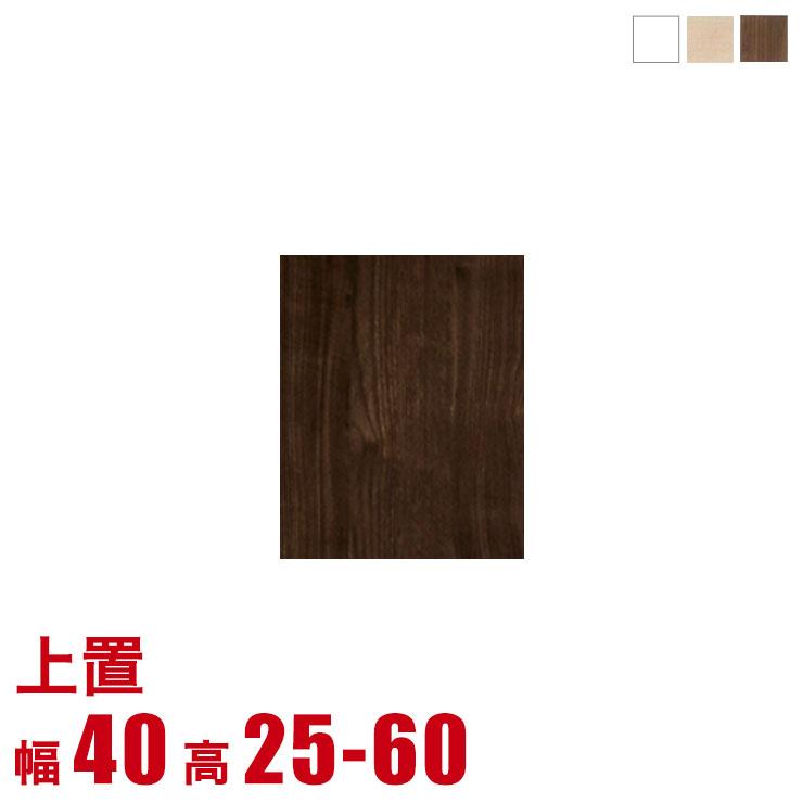 5%OFFクーポン対象+P3倍【完成品 日本製 送料無料】 3色から選べる 壁面収納 ソフィ 専用上置き 板戸タイプ 幅40 奥行44 高さ25-60 メイプル ホワイト ウォールナット 耐震 高さオーダー対応