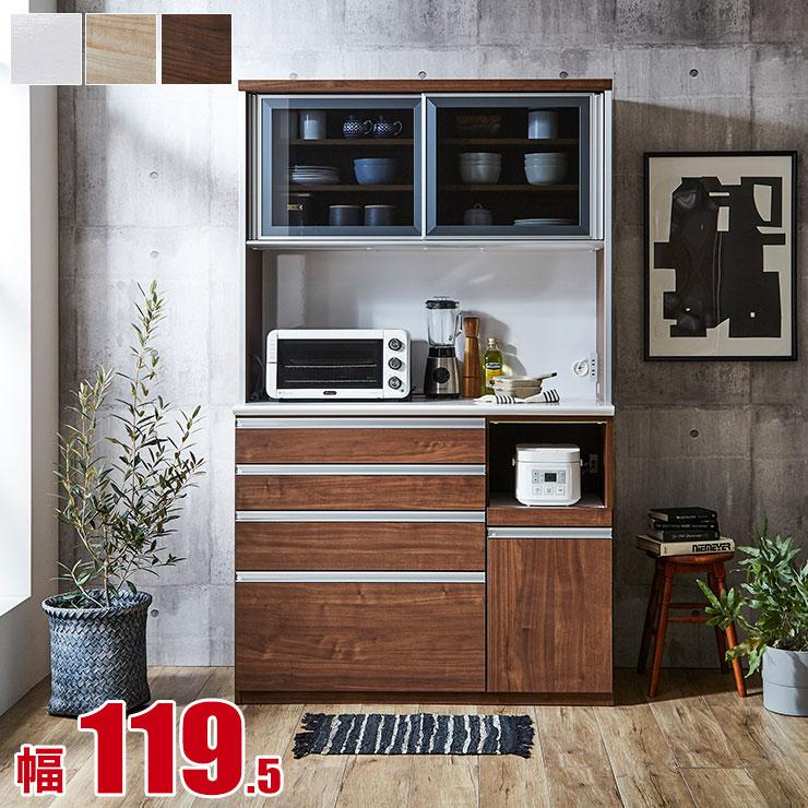 【送料無料/設置無料】 ワンランク上の木目調 高機能食器棚 フォレスト 幅119.5 奥行48 高さ198 ナチュラル/ブラウン/ホワイト
