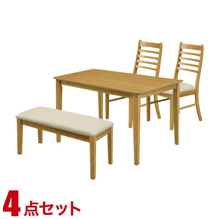 ダイニングテーブルセット 4人掛け シンプル リーズナブル ダイニング 4点セット ジャスト ライトブラウン 幅120cmテーブル 椅子2脚 ベンチ1 完成品 輸入品 送料無料