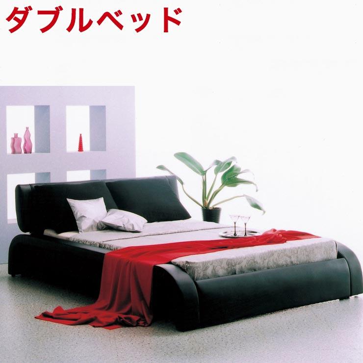 ★ 50 %OFF ★【送料無料/設置無料】 輸入品 丸みのあるデザインが特徴的な高級感のあるベッド ディザイア(ダブルベッド)ブラックダブル クッション付 高級感 板マット すのこ スノコ シンプル