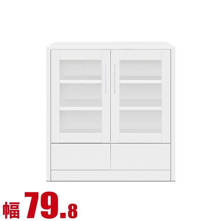 【送料無料/設置無料】 完成品 日本製 サイドボード トーイ 幅79.8cm ホワイト リビング収納 棚 収納 リビング 台 フリーボード 飾り棚 食器 リビングボード