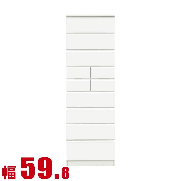 ★ 11 %OFF ★【送料無料/設置無料】 日本製 スノウ タワーチェスト 幅59.8cm 鏡面ホワイト