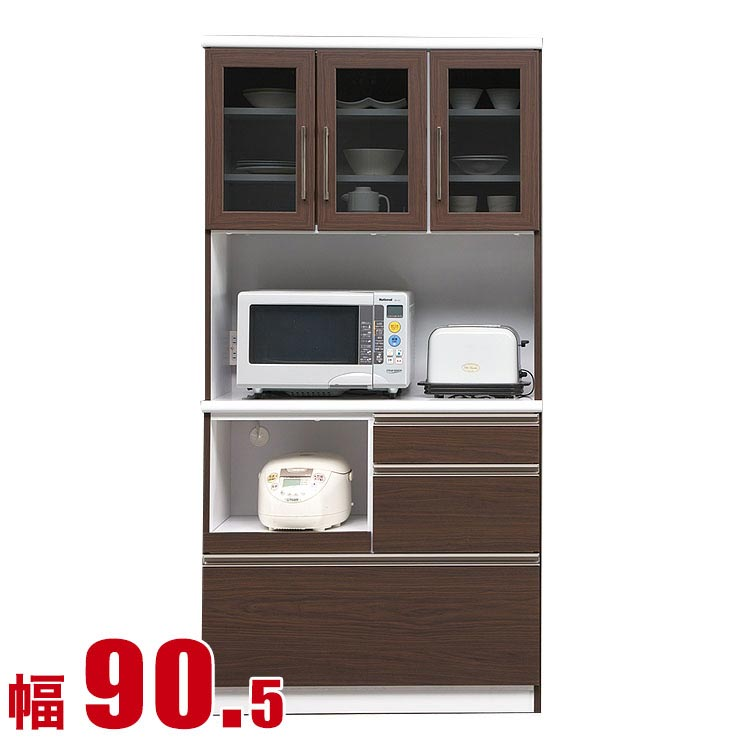 5%OFFクーポン対象+P3倍【送料無料/設置無料】 完成品 日本製 食器棚 ウィリー ブラウン 幅90 開戸タイプ