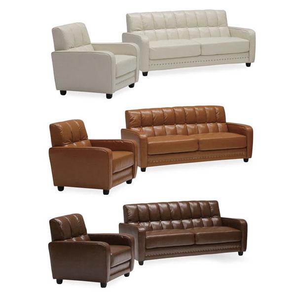 送料無料 開梱設置ソファ 3人掛けソファ完成品 合成皮革張り3色対応 「レトロ」