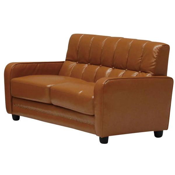 送料無料 開梱設置ソファ 2人掛けソファ完成品 合成皮革張り3色対応 「レトロ」※DBは9月上旬入荷予定