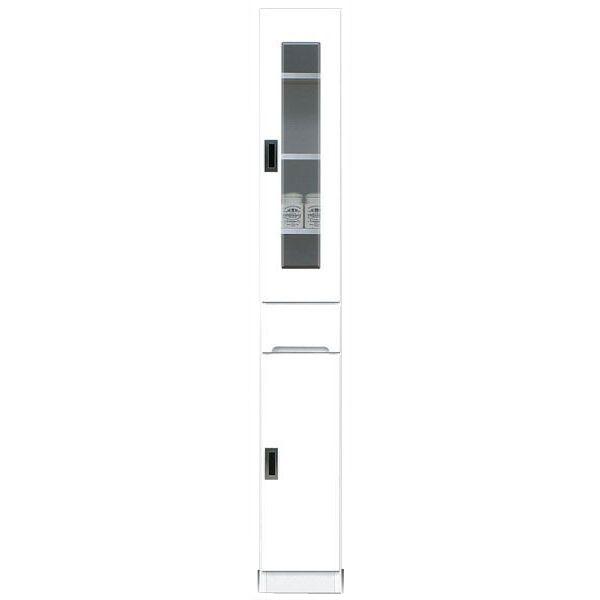 食器棚 完成品 隙間家具スリム ガラス扉 25cm幅ホワイト 「スペース 25-A」送料無料