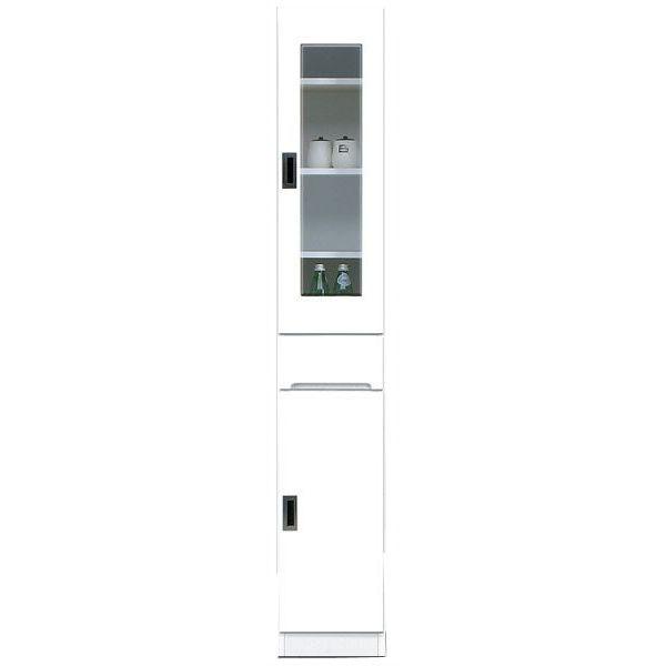 食器棚 完成品 隙間家具スリム ガラス扉 30cm幅ホワイト 「スペース 30-A」 送料無料