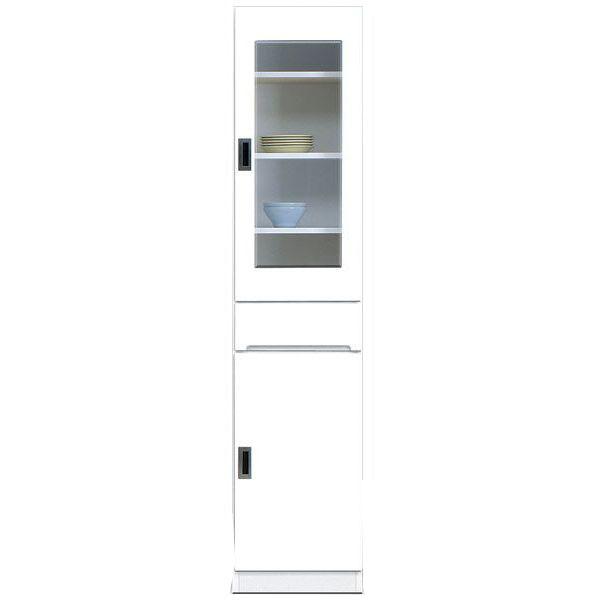 食器棚 完成品 隙間家具スリム ガラス扉 40cm幅ホワイト「スペース3 40-A」送料無料
