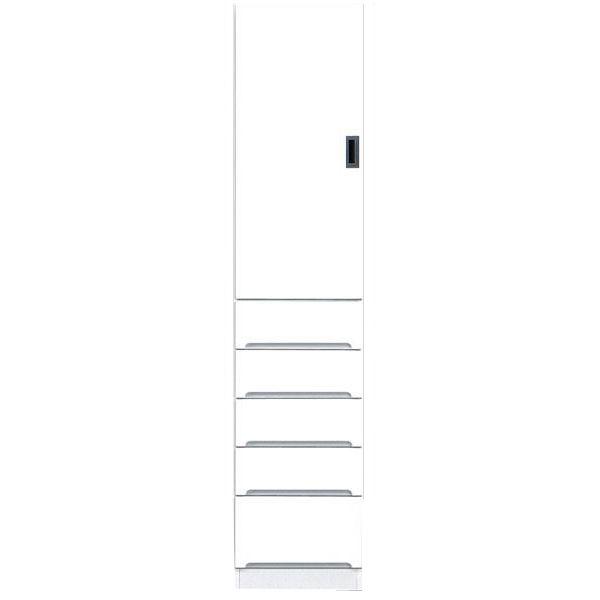 食器棚 完成品 隙間家具スリム 上板扉 下引出し40cm幅 ホワイト 「スペース40B」送料無料