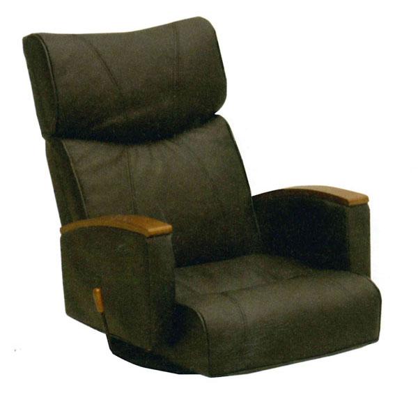 【ポイント増量&お得クーポン】 座椅子 「LS-10」 リクライニング回転式 ブラック 本革張り 送料無料