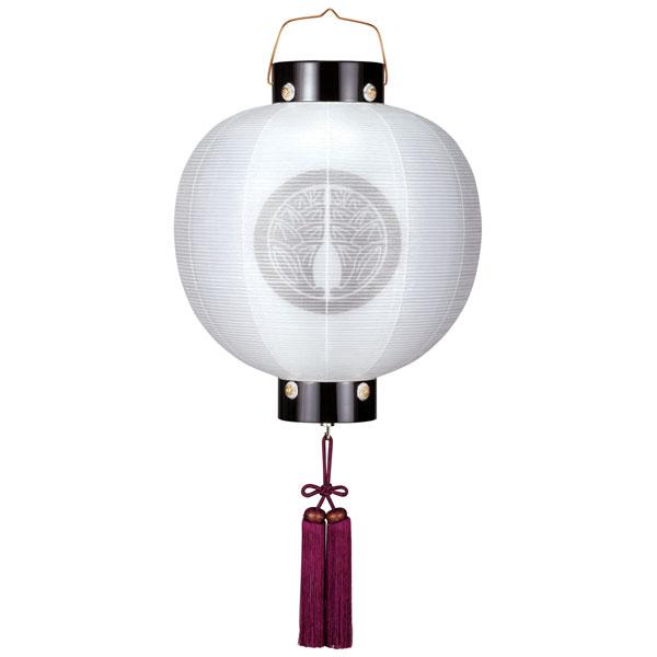 盆提灯 ちょうちん 門提灯 丸 14号 絹二重無地電池式 家紋入れサービス 8324-GJ-054E