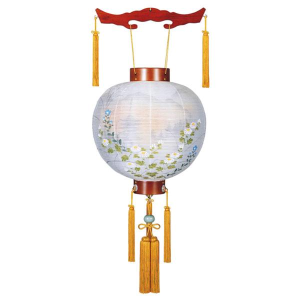 盆提灯 ちょうちん 御殿丸 11号「萩の香絹二重絵入風鎮付」 (電池式) 8033-11-152J