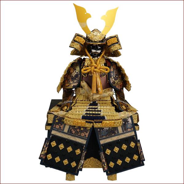 鎧飾り 鎧平飾り 五月人形 五月飾り端午の節句 12号 黄ラメ紺沢瀉鎧 龍玉作