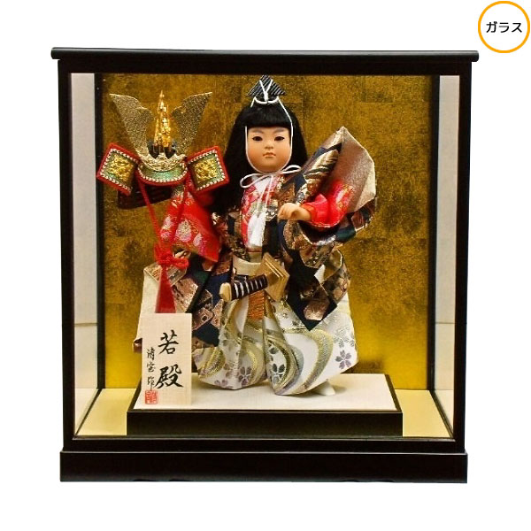 わらべ人形 ケース飾り 五月人形 五月飾り 童人形節句人形 端午の節句 8号 武者人形 若殿