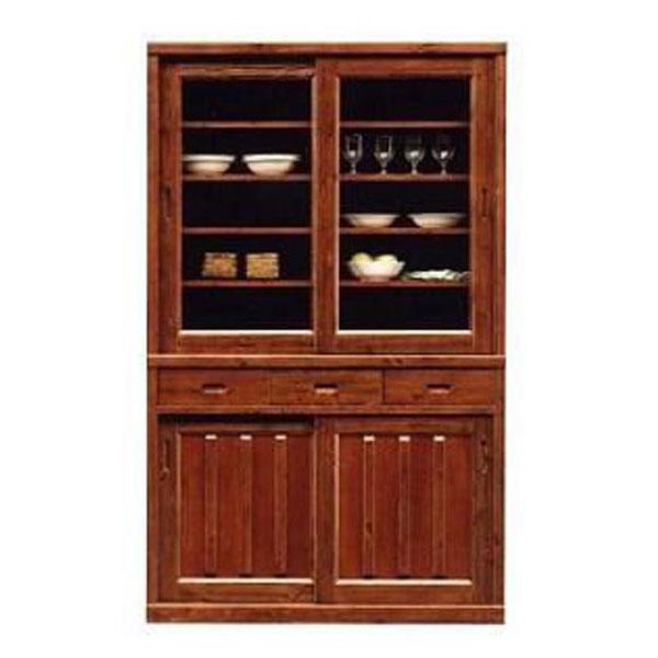 食器棚 120cm幅 高さ195cm引き戸 完成品 国産パイン材 送料無料 開梱設置