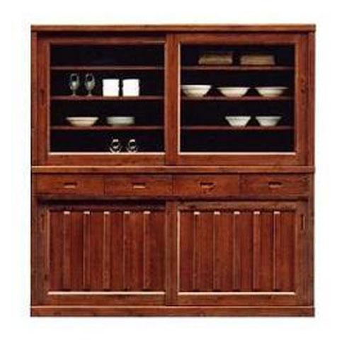 食器棚 高さ175cm 170cm幅引き戸 完成品 国産うずくり仕上げ 和風送料無料 開梱設置