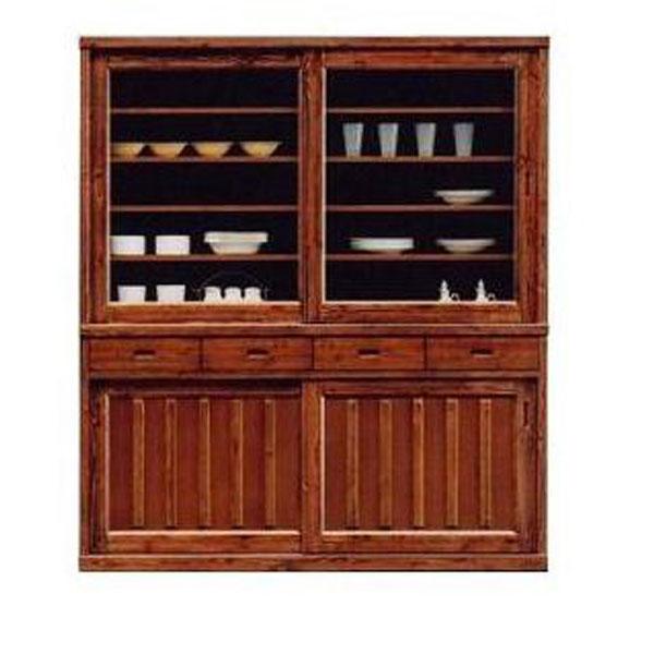 食器棚 引き戸 170cm幅 高さ195cm 完成品 国産うずくり仕上げ 和風 国産 送料無料 開梱設置
