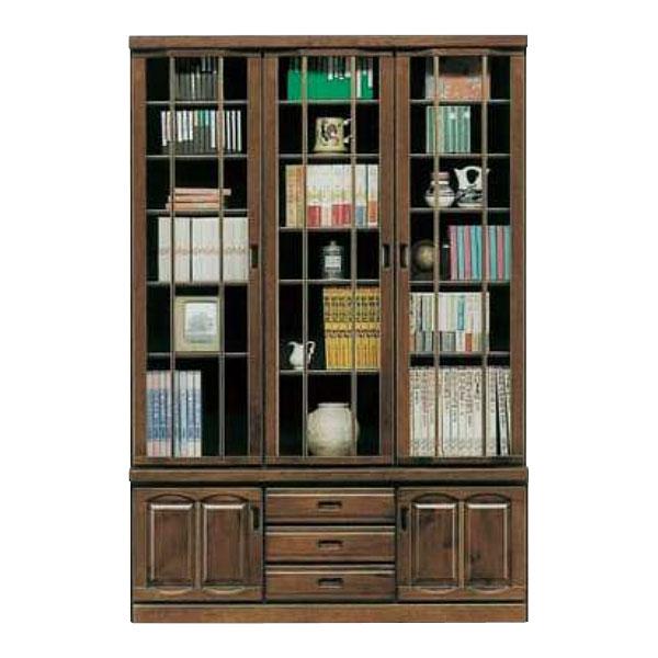 本棚 書棚 135cm幅 開き戸重ね 完成品国産 送料無料 開梱設置