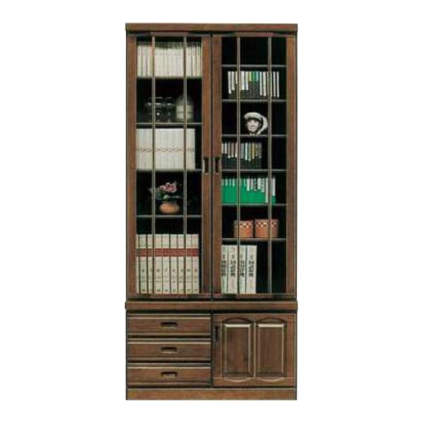 【4/9~ポイント増量&お得クーポン】 送料無料 開梱設置本棚 書棚 開き戸完成品 重ね 90cm幅 国産
