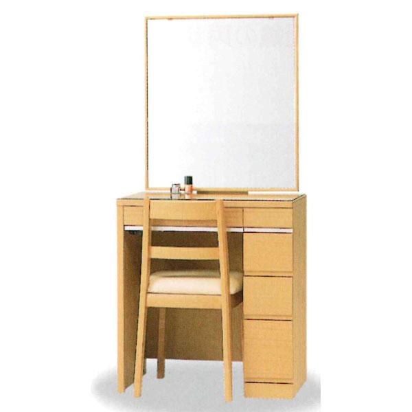 【開梱設置】 ドレッサー 化粧台 鏡台 一面鏡国産 イス付 4色対応「ミレーヌ」 20一面収納