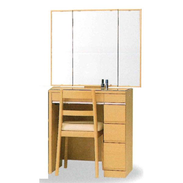 【開梱設置】 ドレッサー 化粧台 鏡台 三面鏡国産 イス付 4色対応「ミレーヌ」 30半三面収納
