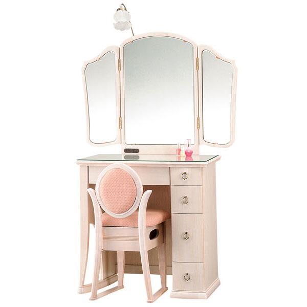 【開梱設置】 ドレッサー 化粧台 鏡台 三面鏡国産 収納イス付 2色対応「ポエム」 30半三面収納