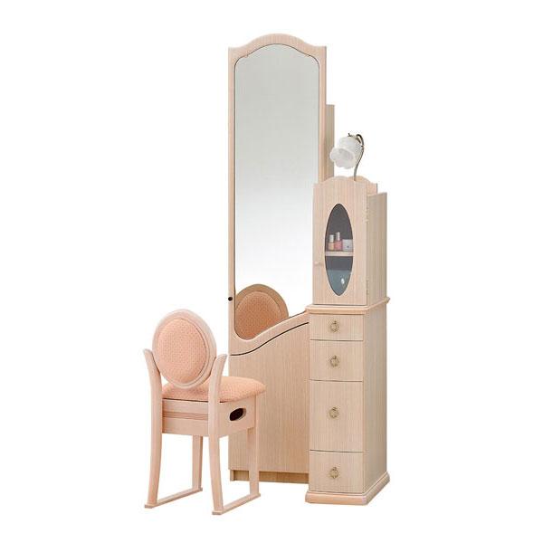 【開梱設置】 ドレッサー 化粧台 鏡台 姿見国産 収納イス付 2色対応「ロマンス」 20一面収納