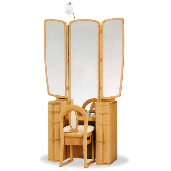 【開梱設置】 ドレッサー 化粧台 鏡台 三面鏡国産 収納イス付 2色対応「スパイダー」 20半三面収納