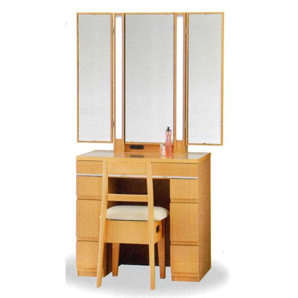 【開梱設置】 ドレッサー 化粧台 鏡台 三面鏡国産 収納イス付 3色対応「テクナ」 25半三面収納