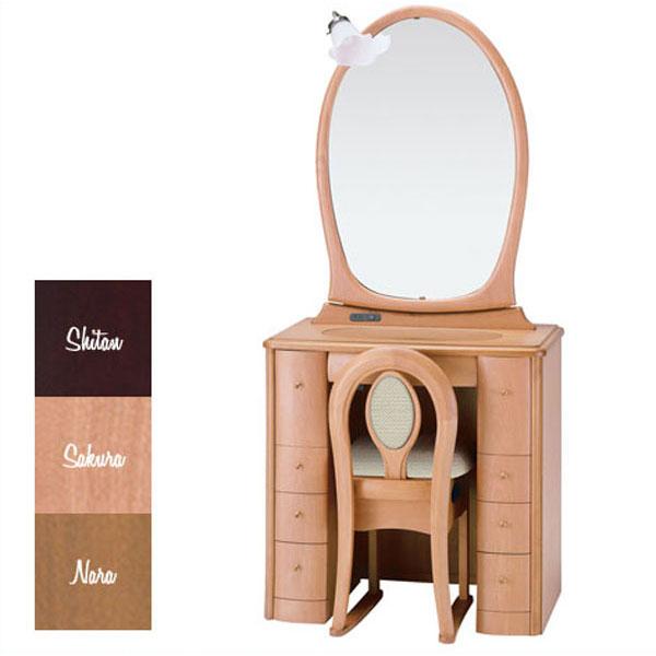 【開梱設置】 ドレッサー 化粧台 鏡台 一面鏡収納イス付 ナラ材 サクラ材 3色対応「チェルシー」 20一面収納