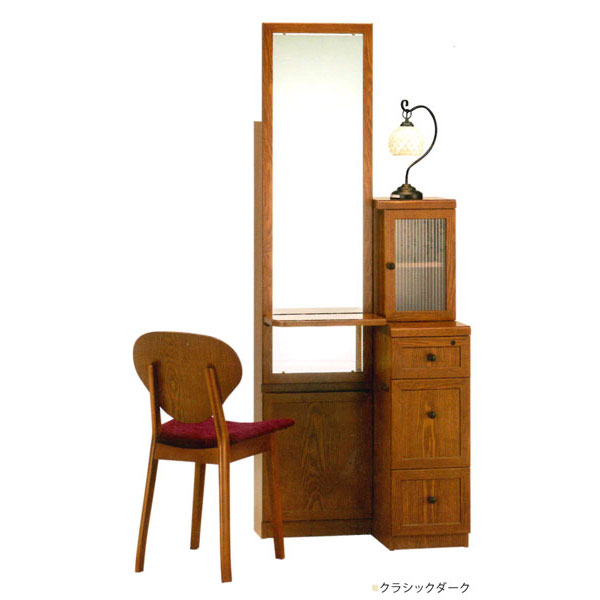 【【開梱設置】 姿見ドレッサー 化粧台 鏡台 一面鏡イス付 タモ材 2色対応「アイラ」 一面
