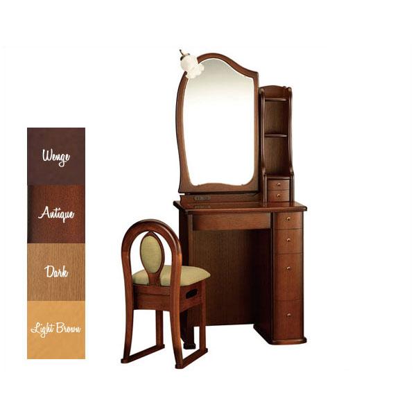 【開梱設置】 ドレッサー 化粧台 鏡台 一面鏡収納イス付 ナラ材 5色対応「ルルキュート」 24一面収納