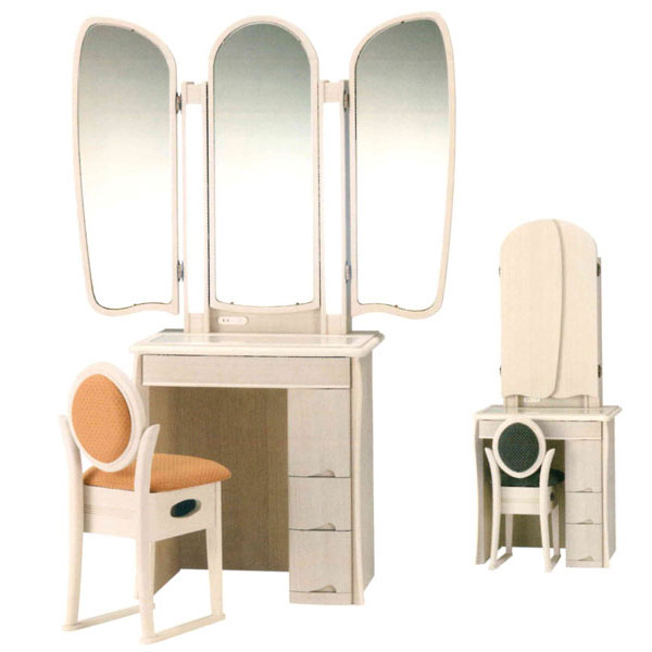 【開梱設置】 ドレッサー 化粧台 鏡台 3面鏡イス付 ナラ材 2色対応「マシェリア」 七分3面