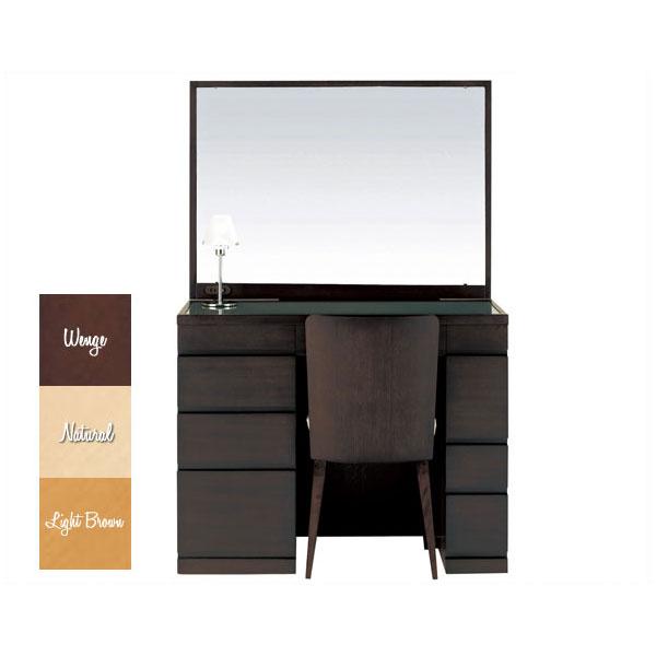 【開梱設置】 ドレッサー 化粧台 鏡台 一面鏡イス付 ナラ材 3色対応「プレセディオ」 14一面