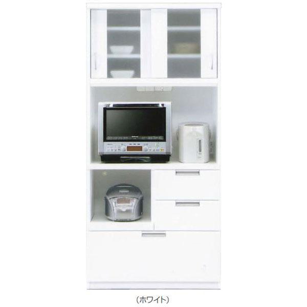 【4/9~ポイント増量&お得クーポン】 キッチンボード レンジボード 食器棚「クリーム」 90cm幅 3色対応 開梱設置送料無料
