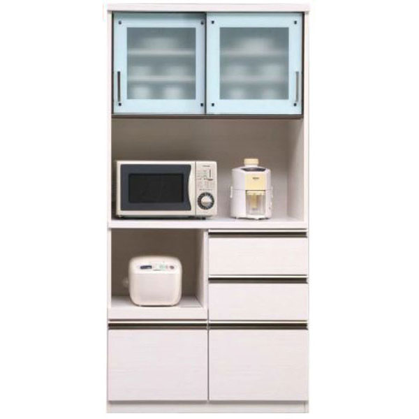 キッチンボード レンジボード 食器棚「ダラス」 90cm幅 2色対応 開梱設置送料無料
