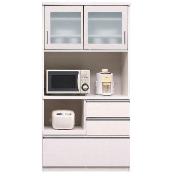 キッチンボード レンジボード 食器棚「ピュア」 90cm幅 2色対応 開梱設置送料無料