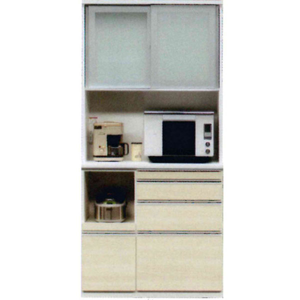 受注生産品 レンジボード 完成品国産 引き戸 キッチン収納 90cm幅50色対応 開梱設置 送料無料