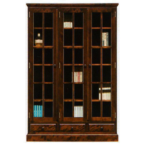 開梱設置 送料無料本棚 書棚 民芸家具 開き戸 完成品 120cm幅 「樹氷」
