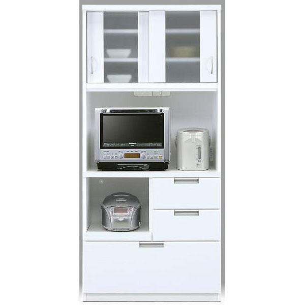 食器棚 レンジボード完成品 85cm幅 「クリーム」開梱設置 送料無料