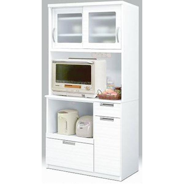 食器棚 レンジボード完成品 90cm幅 「ミリオン」開梱設置 送料無料