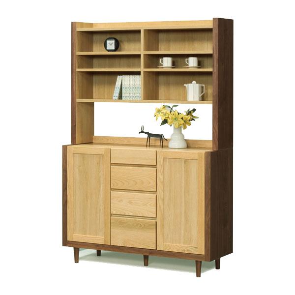 【送料無料】受注生産商品 サイドボード+上置シェルフ 飾り棚 収納「ニコル」 116cm幅