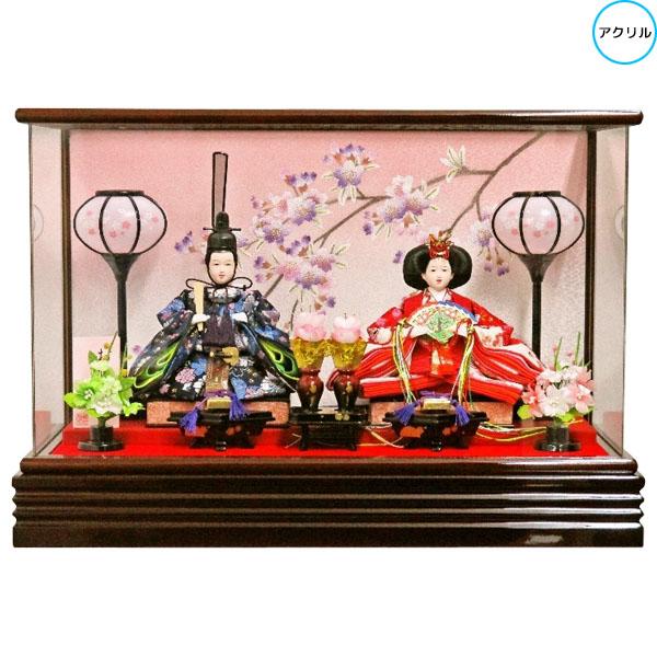 雛人形 ひな人形 衣装着人形 アクリルケース親王飾り 親王ケース飾り 182A-22 送料無料 お雛様