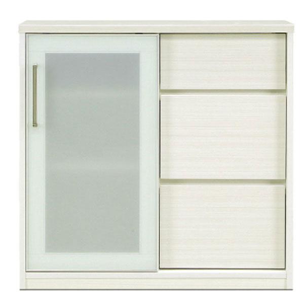 キッチンカウンター スリムタイプ ハイグロスホワイト MDF スライド扉 カウンター下 収納 フルオープンレール 「90カウンター」 90.5cm玄関渡し