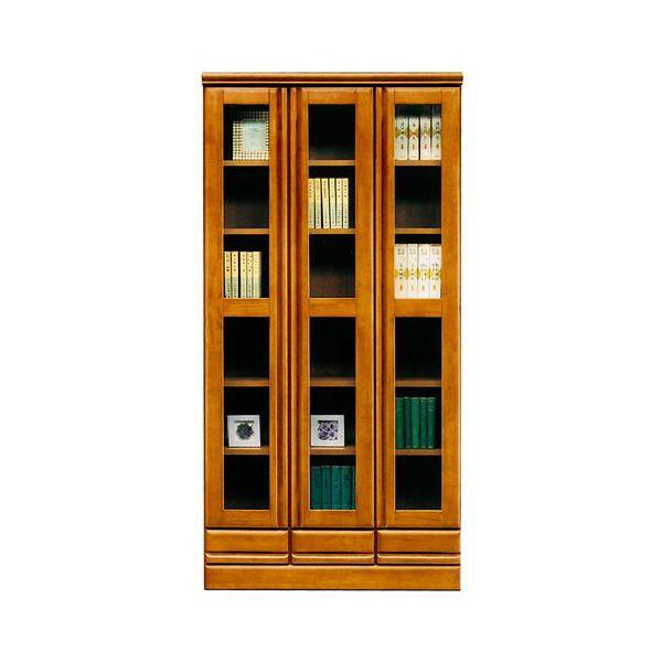 本棚 書棚 ハイタイプ 国産ブラウン 90cm幅 「ジェロ」開梱設置 送料無料 ※4月2日入荷予定