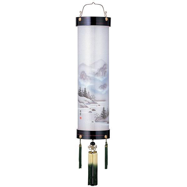盆提灯 絹張住吉 黒檀調二重絹二重絵 雲山 11番木製・風鎮付・電気式