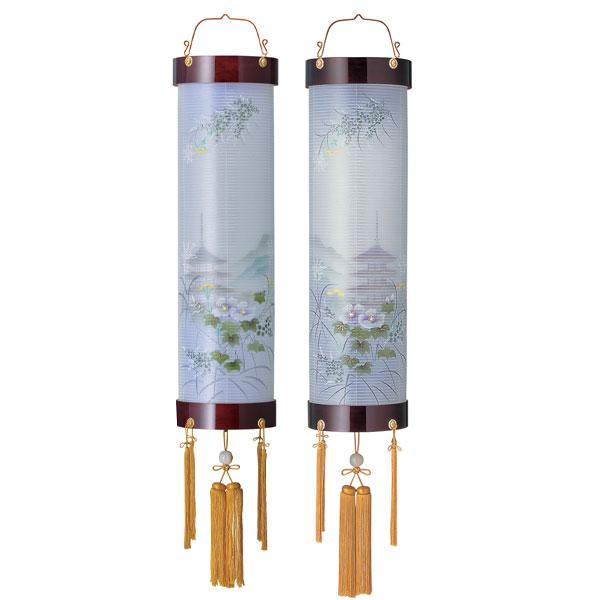 盆提灯 絹張住吉 ワイン二重絵 向い合せ新芙蓉に塔 9番木製・風鎮付・電気式 対柄 一対入り